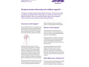 Image of all about stroke: information guide for children (aged 9+) publication