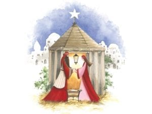 Image of Away in a manger Christmas card – Nativity scene of Joseph, Mary and baby Jesus