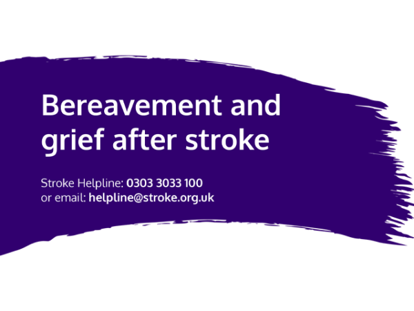Guide heading screenshot. Text says - Bereavement and grief after stroke