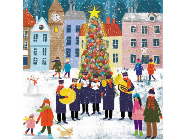 Image of Brass Band by the Tree Christmas cards – a brass band playing by the tree.