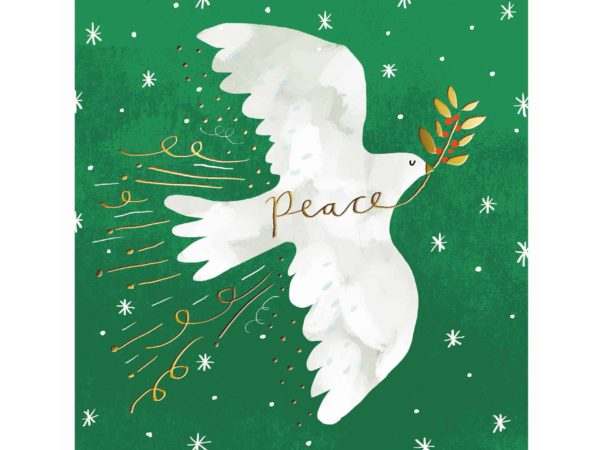 Image of Bringing Peace Christmas card – a white dove bringing peace