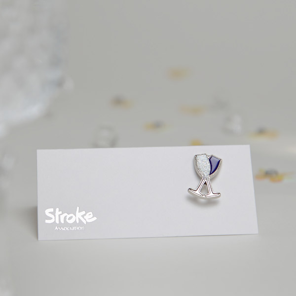 Image of champagne flute pin badge