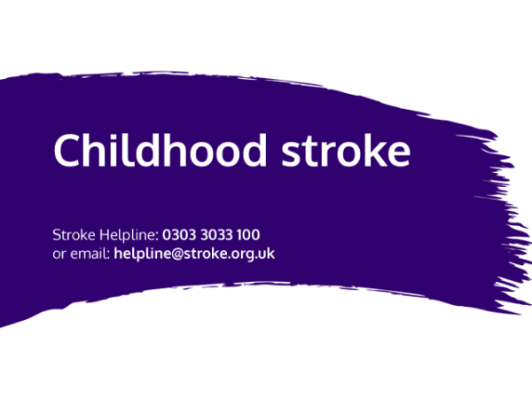 Guide heading screenshot. Text says - Childhood stroke