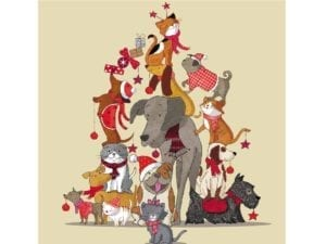 Image of Critter Tree Christmas card – cartoon animals grouped together in the shape of a Christmas tree