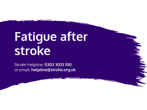 Guide heading screenshot. Text says - Fatigue after stroke