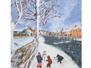 Image of Fun in the snow Christmas card – illustration of children playing in the snow