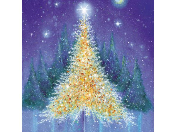 Image of Golden Glow Christmas card – a golden tree set amongst the snow