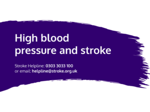Guide heading screenshot. Text says - High blood pressure and stroke