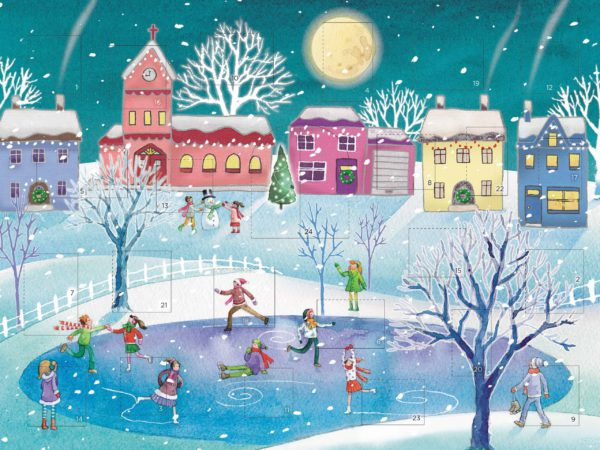 Image of Ice Skating on the Pond Advent card – people skating on the pond at Christmas.
