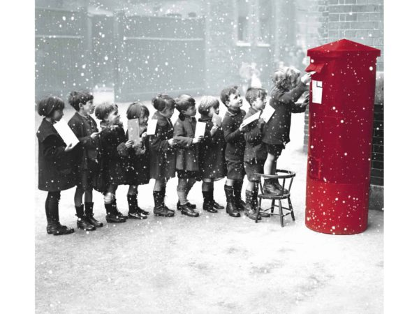 Image of Letters to Santa Christmas card – children queuing up to post their letter to santa in a red post box.