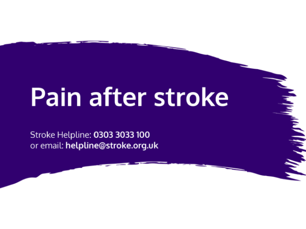 Guide heading screenshot. Text says - Pain after stroke