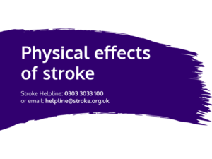 Guide heading screenshot. Text says - Physical effects of stroke