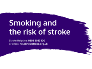Guide heading screenshot. Text says - Smoking and the risk of stroke