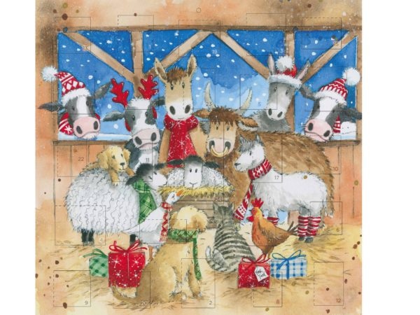Image of Stable Friends Advent card – the animals together in the stable