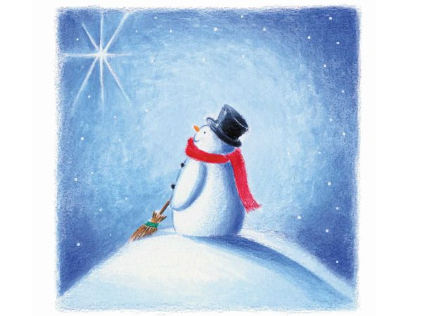 Image of Stargazing Christmas card – a snowman staring at the star.