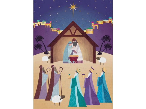 Image of the Gathering Christmas card – an illustrated nativity scene