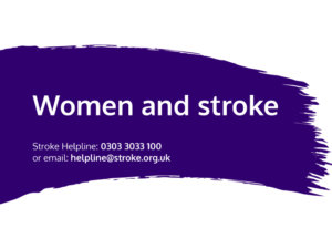Guide heading screenshot. Text says - Women and stroke