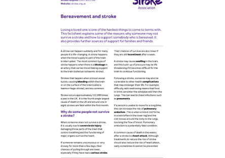 Image of bereavement and stroke guide publication