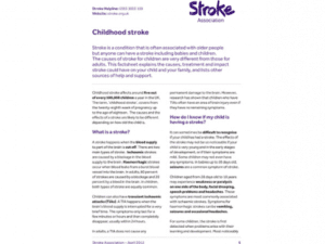 Image of childhood stroke publication