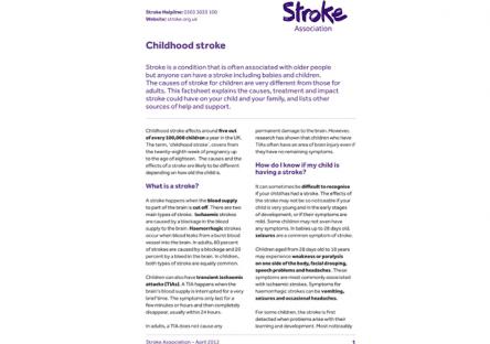 Image of childhood stroke publication