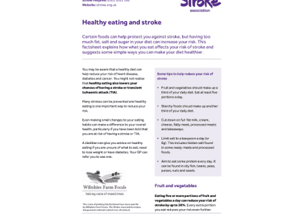 Image of healthy eating and stroke guide