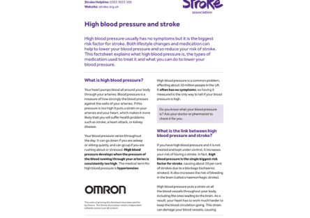 Image of high blood pressure and stroke publication