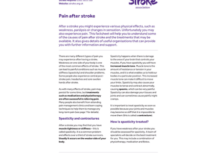 Image of pain after stroke publication