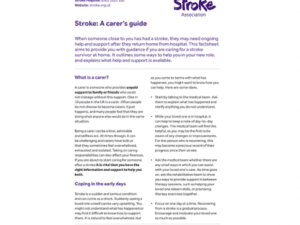 Image of Stroke: A carer's guide