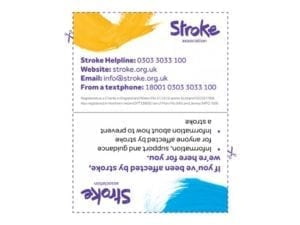 Image of stroke helpline card