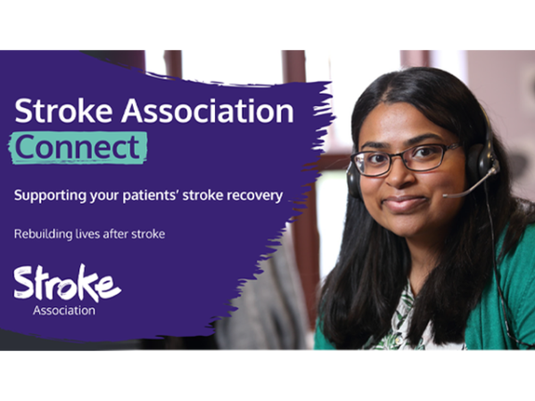 A4 poster heading screenshot. Text says - Stroke Association Connect. Supporting your patients stroke recovery.