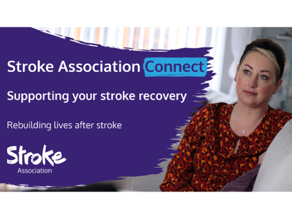A5 flyer heading screenshot. Text says - Stroke Association Connect. Supporting your patients stroke recovery.