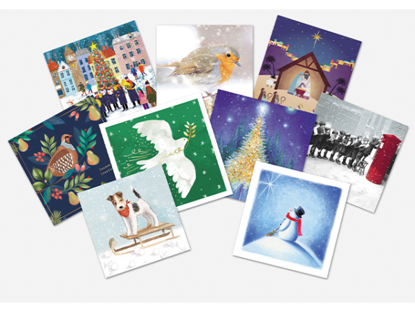 A selection of Christmas cards with various designs.