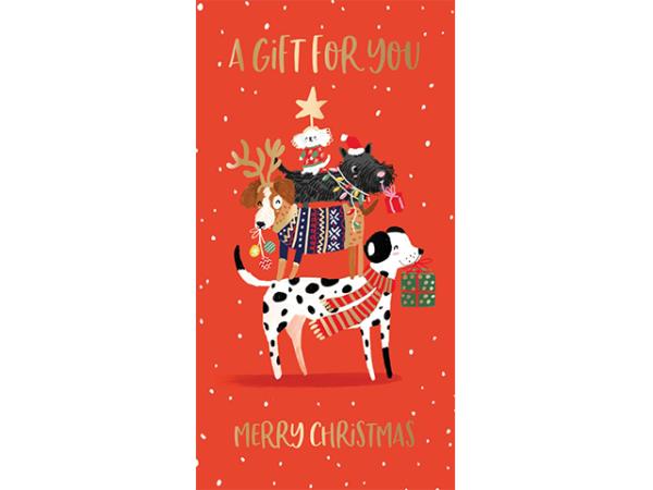 Xmas artwork of dogs wearing festive garments.