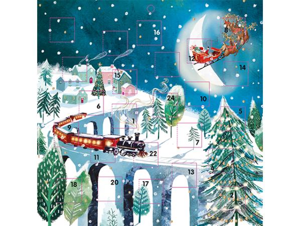 An advent calendar with Santa in the sky and a train on snowy tracks.