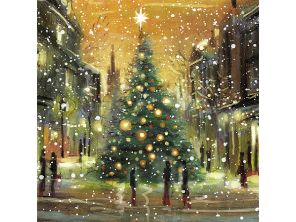 A large, glowing Christmas tree standing in a town market, amidst snow falling.