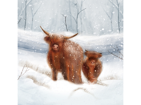 Two brown cows, standing in a heavily snowed-over forest.