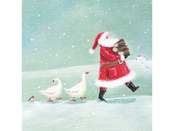 Santa carrying wood logs, followed by two geese and a small robin.