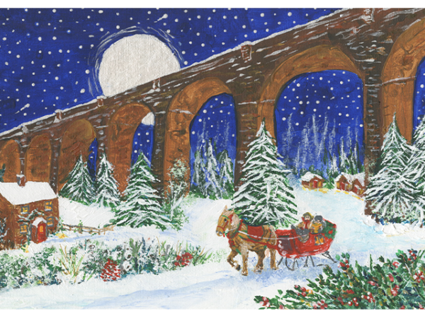 A horse-led sleigh carrying two people on the snow, with a tall bridge and moon as the backdrop.