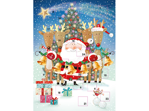 An advent calendar with Santa and some of his reindeer, holding bells in front of a Christmas tree.