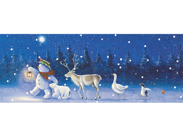 A snowman, polar bear, reindeer, goose, penguin and small robin – all taking a night-time stroll in the snow.