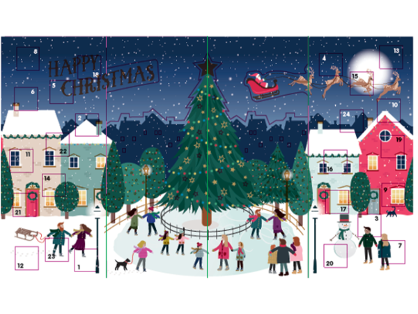 An advent calendar with people ice-skating around a tall Christmas tree in a town.