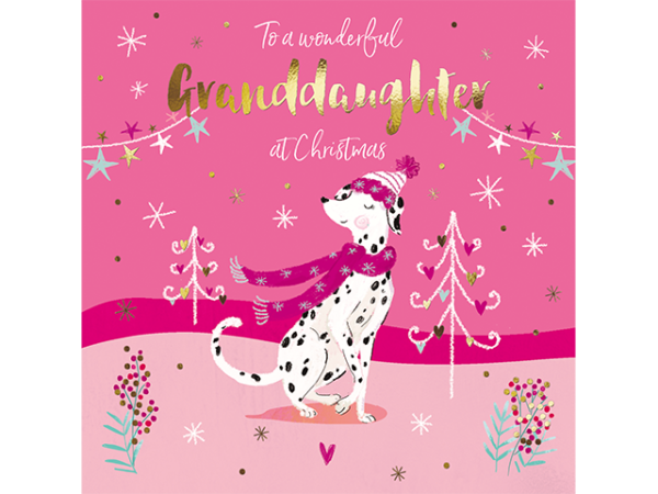 A rosy-cheeked Dalmatian wearing a festive scarf and hat, surrounded by stylistic Xmas trees and stars.