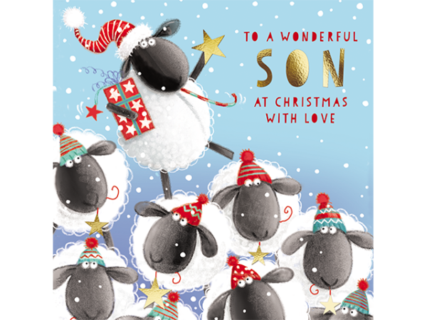 Several sheep wearing festive hats, with one standing above the rest and holding a gift in one hand, a star in the other, and a candy cane in its mouth.