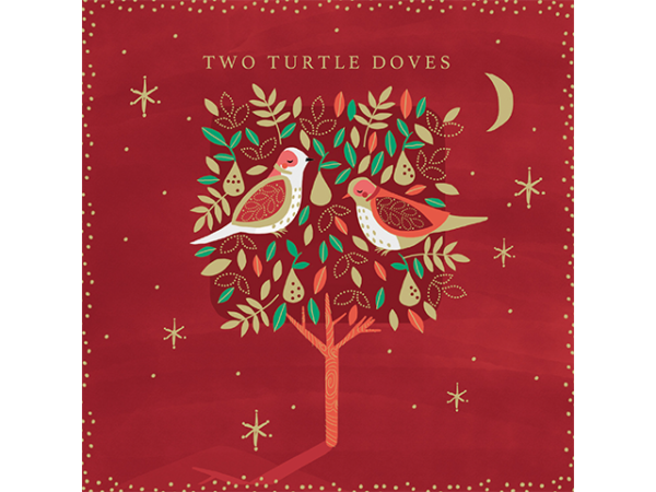 Two cute little turtledoves in a pear tree, with a backdrop of stars and the moon.